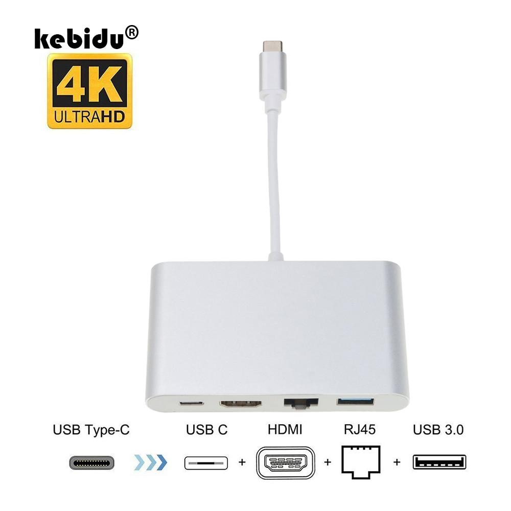 kebidu New 4 in 1 USB-C Hub Adapter USB 3.1 Type C to HDMI 4K RJ45 Port USB 3.0 USB 3.1 Converter for Macbook HDTV For Huawei