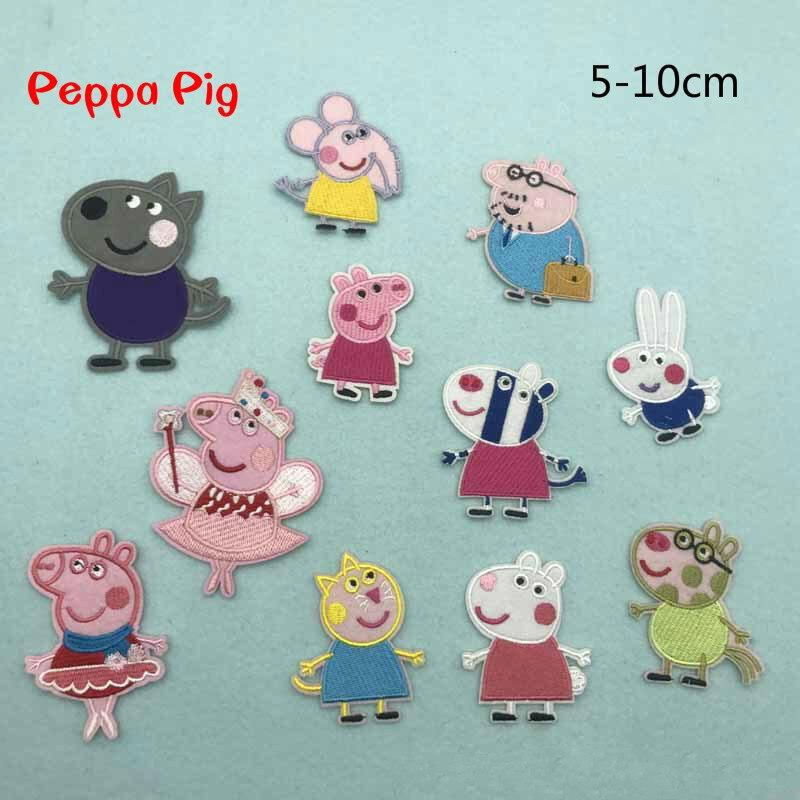 Милая Свинка Пеппа на патч одежда вышитая швейная аппликация пришить эмблема на ткани аксессуары для одежды стикер мультфильм декоративные