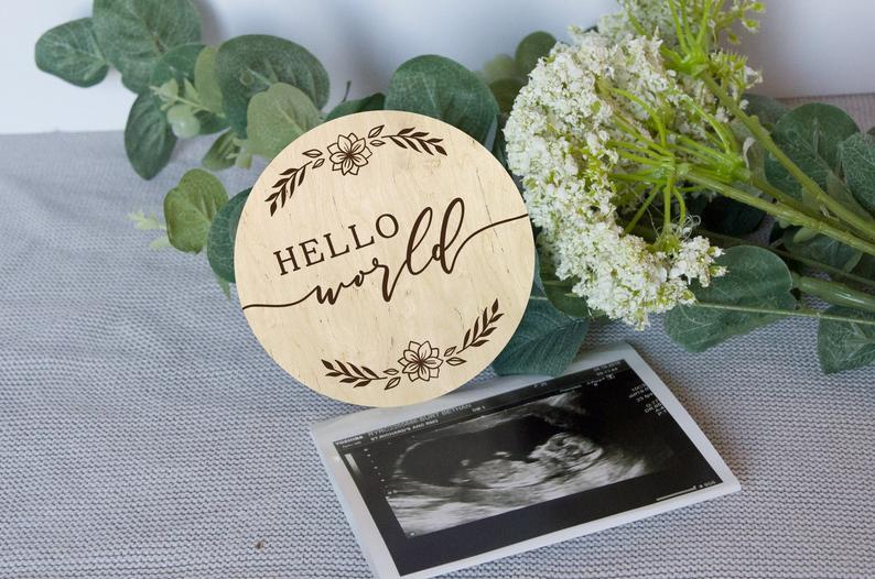 Anuncio de Hola Mundo bebé, anuncio de bebé recién nacido, recuerdo de bebé, prop de fotografía de recién nacido, bebé de marca