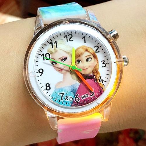 2021 Princess Elsa Children Watch Spiderman Colorful Light Source Boys Girls Kids Party Gift Clock W