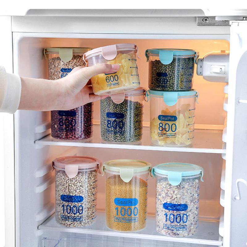 Food Storage Box Plastic Kitchen Food Cereal Grain Bean Rice Storage Box Container Bottle Case Kitchen Organize Tools