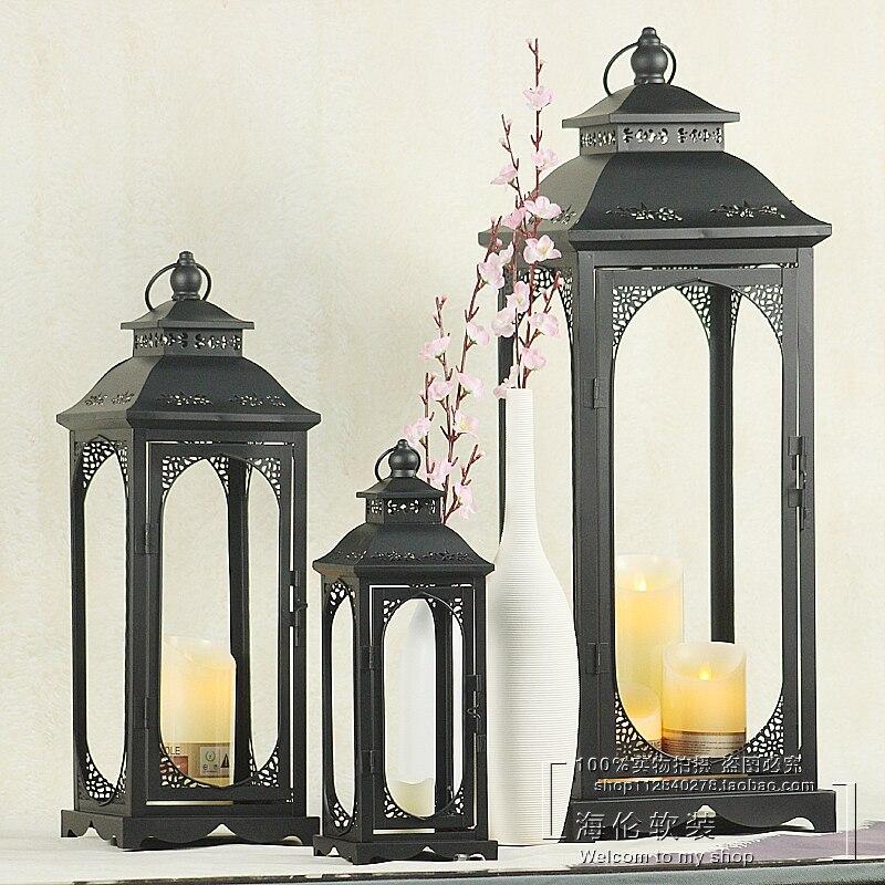 Farol de hierro forjado, farol de jardín Vintage, portavelas, farol geométrico al aire libre, decoración de boda Lantaarns AC50CH