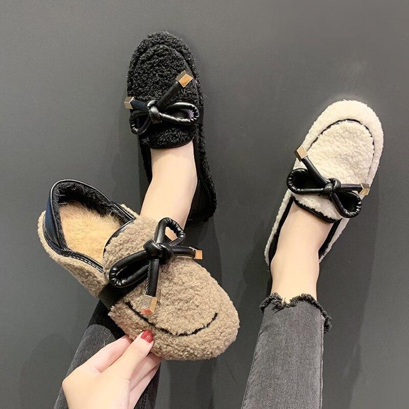 Low Leather Comfort Shoes For Women 2020 Women's Strappy Heels Soft Suit Female Beige Flip Fur Low-heeled Comfort lykj-yx
