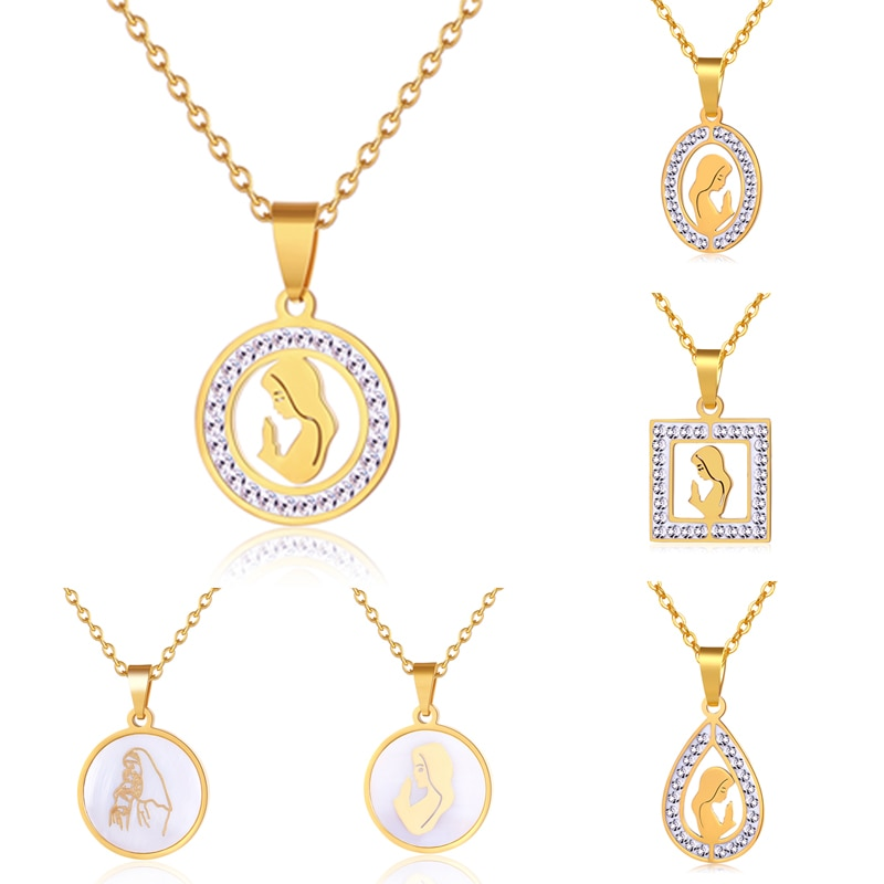 Религиозная католическая церковь Амулет ожерелье из нержавеющей стали Девы Марии кулон ожерелье с женщин золото/сталь цвет ювелирные изделия