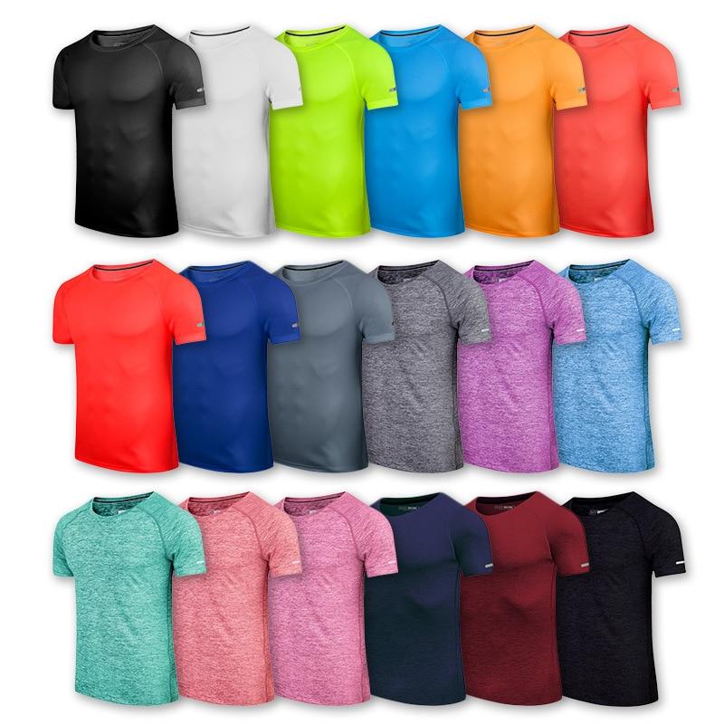 Men Kids Women Workout T Shirts Quick Dry elastic Short Sleeve Outdoor Training Sportswear Breathable Running Bodybuilding Shirt