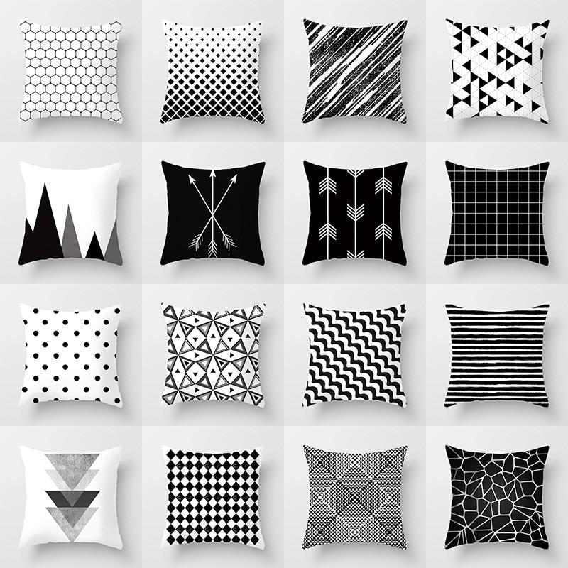 Funda de cojín nórdico negro blanco flecha funda de almohada de poliéster funda de cojín coche sofá sala de estar cubre las almohadas decorativas