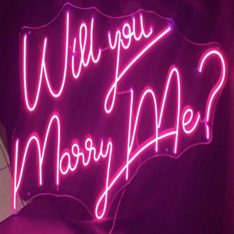 OHANEONK Will you marry me Custom Name Neon Light Sign Led l Art Wedding Party Club Bar Room Wall Hanging Propose Decor enlarge