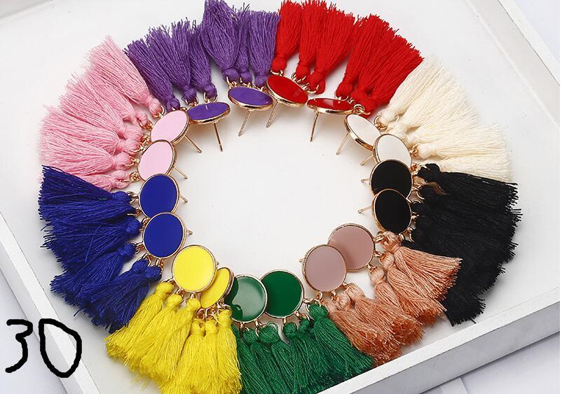 Novo borla brincos para as mulheres na moda jóias boêmio gota brincos longos tecido de seda étnica brincos vintage
