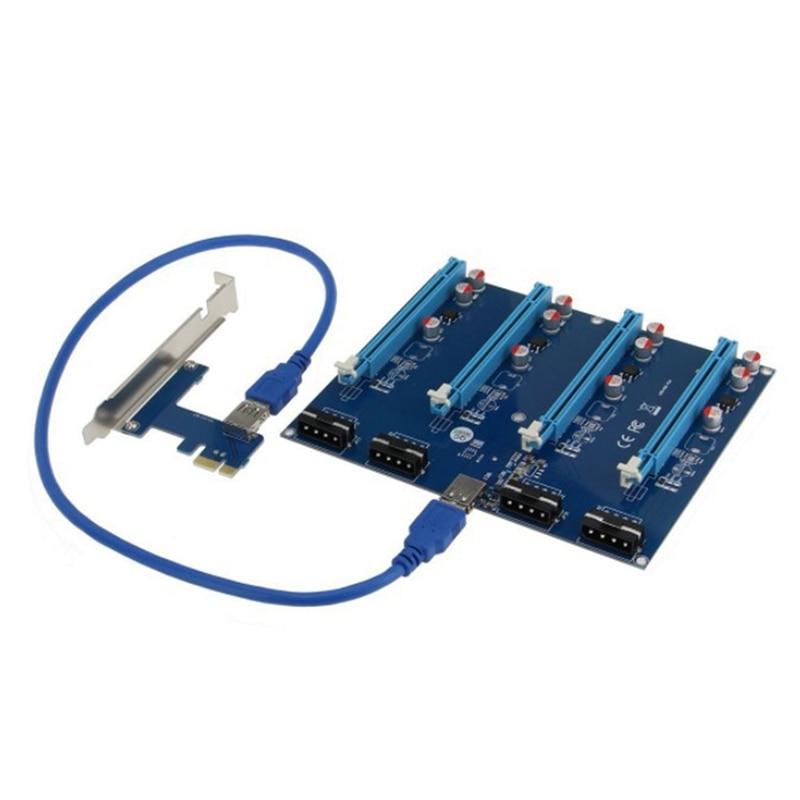 بطاقة محول PCI-E ، 1 إلى 4 مهايئ PCIe ، فتحة 1X إلى 16X ، موصل الكمبيوتر