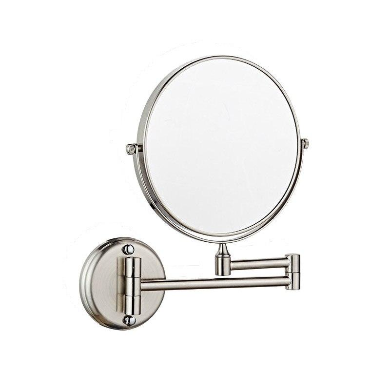 Espejo de maquillaje de aumento montado en la pared de IMPEU, espejo de doble cara de 8 pulgadas con aumento de 3X o 5X, níquel cepillado acabado