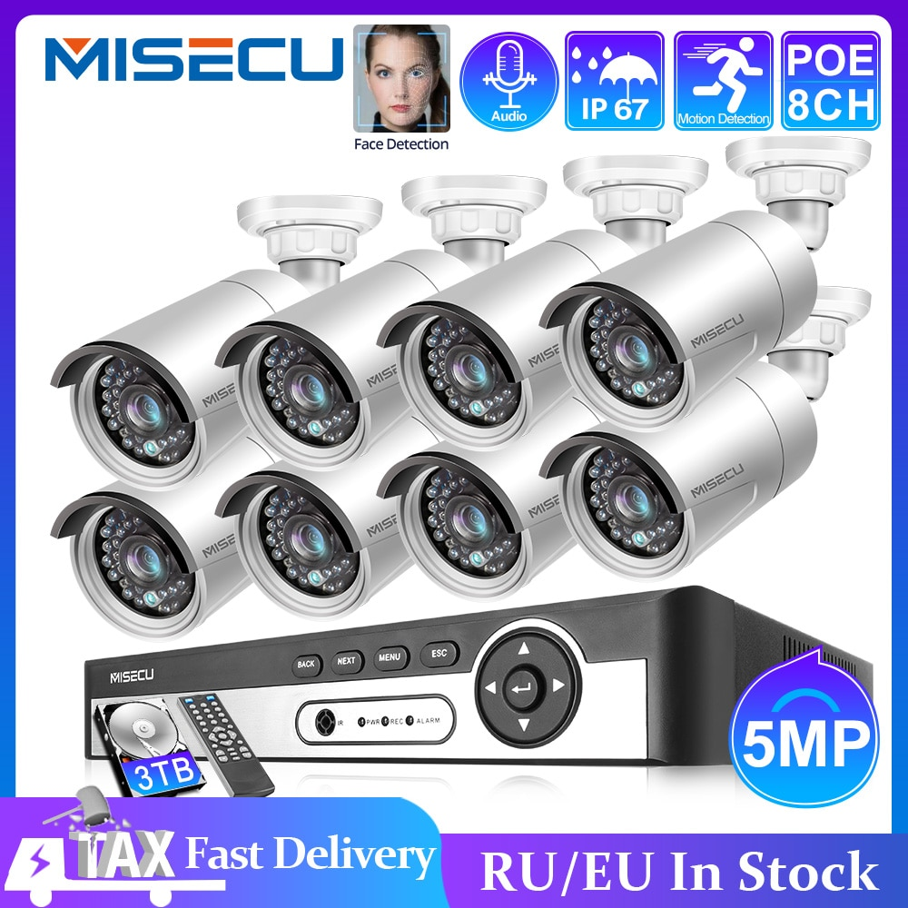 MISECU 8CH 5MP POE Security Camera System Face Record NVR Outdoor Waterproof IP Camera Audio Record