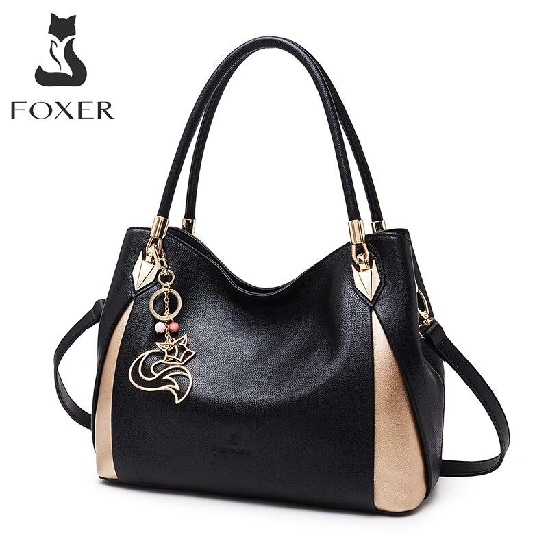 FOXER العلامة التجارية لينة المرأة حقيبة كتف جلد طبيعي الصلبة متعدد الألوان حقيبة يد الإناث مع شحن مجاني