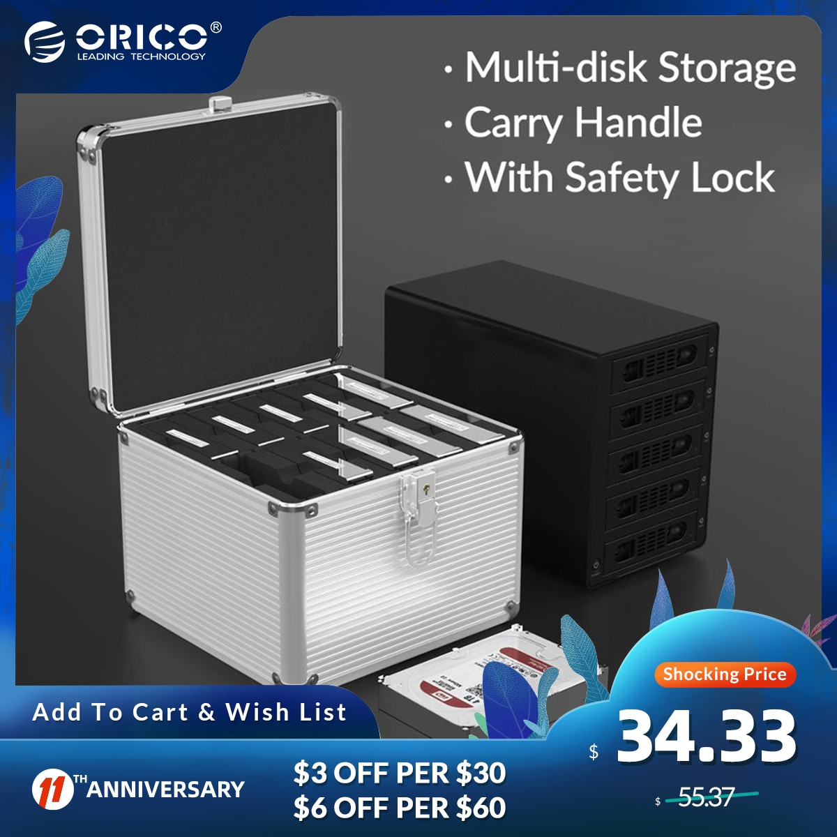 ORICO 5/10/15 Bay 3.5'' Hard Drive Aluminum HDD Protector Box with Locking Protection for 2.5 3.5 M.2 Hard Drive Storage Box