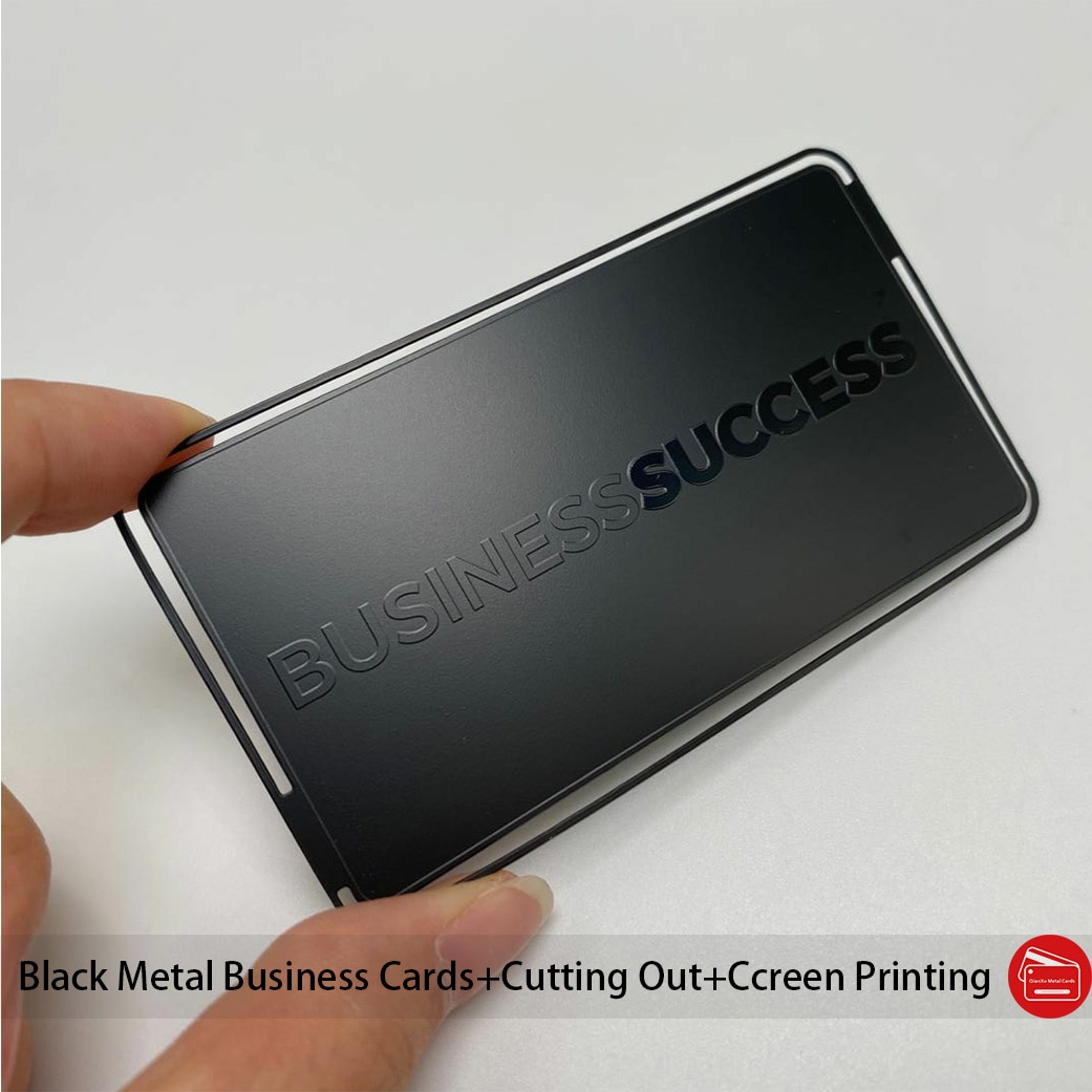 100pcs Plated matt black deep etched shiny words and logo metal business cards 85*54mm