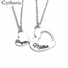 Déclaration coeur mère fille colliers creux épissage collier polissage lettre bijoux fête des mères cadeau pour maman/fille