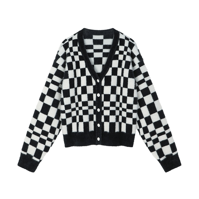 Plaid Big Size Knitting Cardigan for Women Sweater Loose Fit V-Neck Long Sleeve Button-down New Fashion Tide Autumn Winter 2021 enlarge