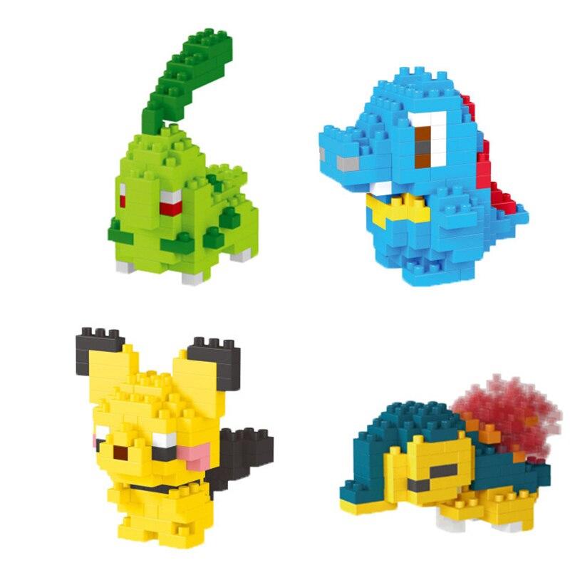 LNO Mini Building Blocks Pocket Monsters Cyndaquil Chikorita Totodile Cartoon Figures Games Toys for Children Mirco Block