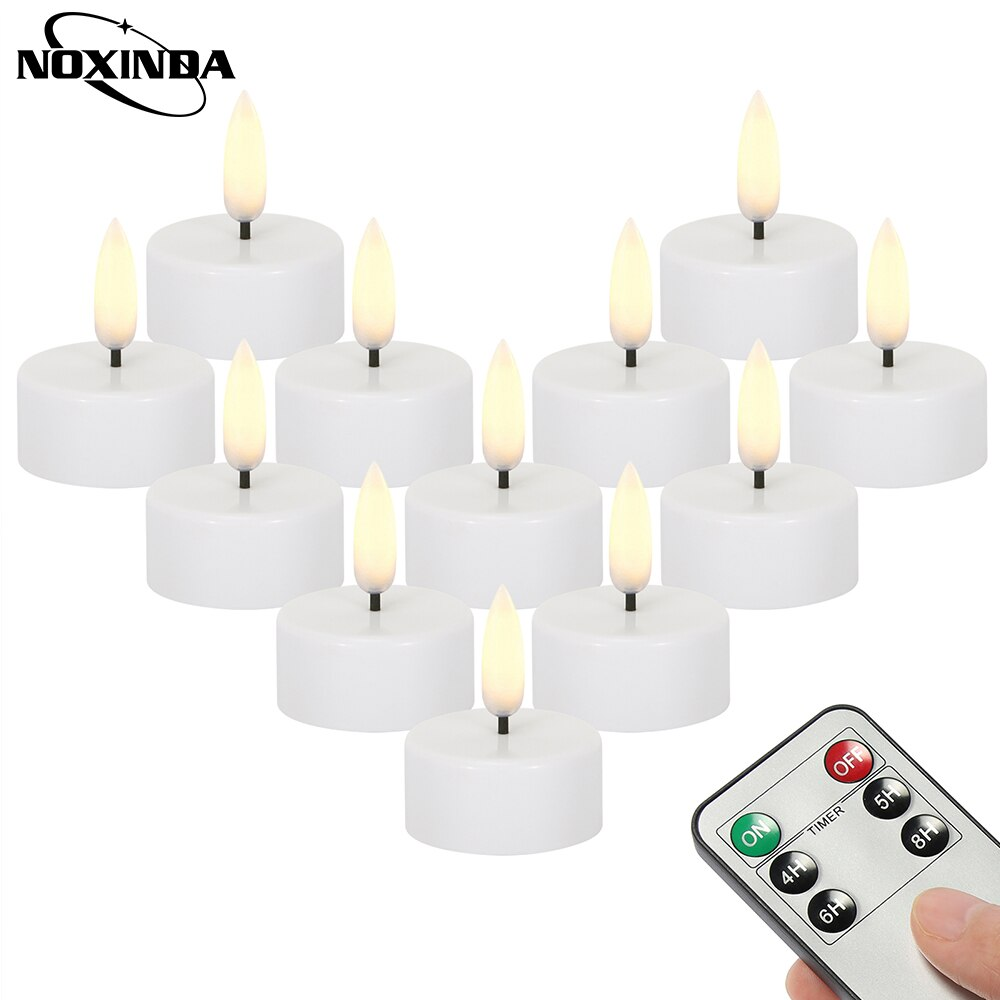 NOXINDA 12 قطعة Led شموع إضاءة الشموع بطارية تعمل الخفقان عديمة اللهب مع شمعة كهربائية عن بعد ومؤقت للاحتفال