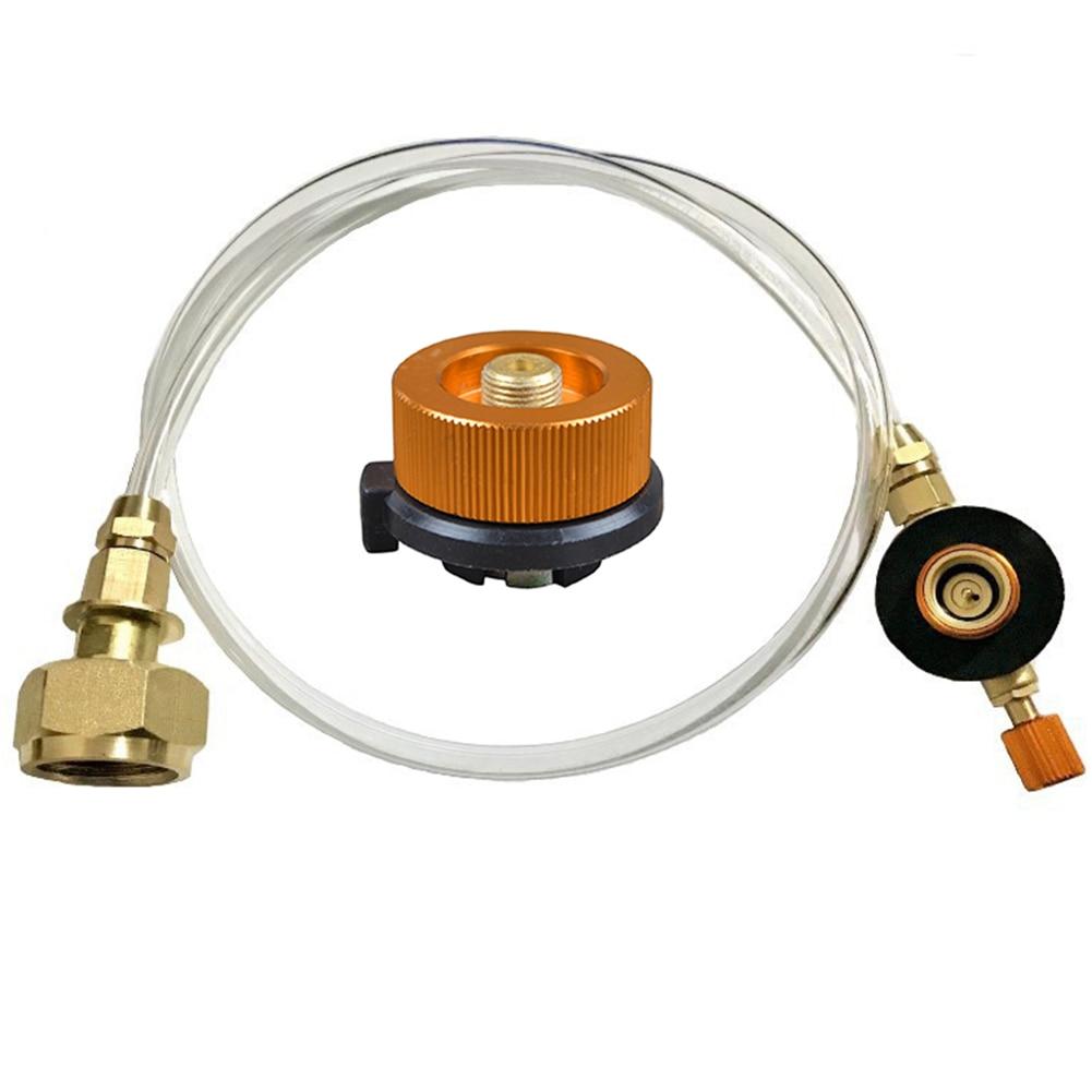 Manual exterior hogar propano herramienta de ahorro seguro manguera de Metal cilindro plano Camping conector para estufa de Gas juego de adaptador de recarga