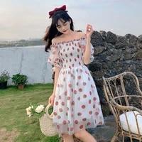 new sweet lolita dress women casual puff sleeve elegant printed kawaii dress french style lace chiffon strawberry dress vestidos