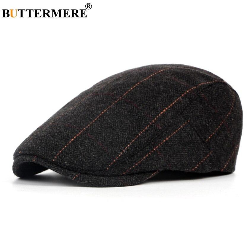BUTTERMERE, Смешанная шерстяная плоская кепка для мужчин, полосатый берет, Мужская твидовая серая Классическая Кепка и шляпа в британском стиле