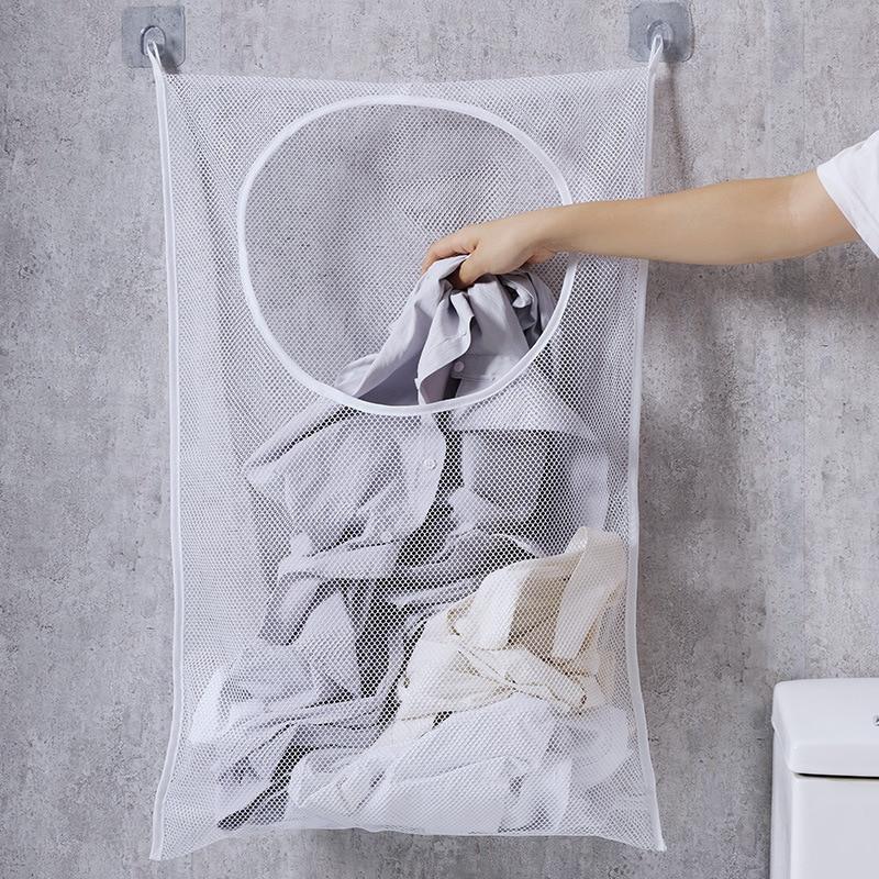 متعددة الوظائف الغسيل حقيبة التخزين الملابس القذرة سلة جدار الالعاب المتدلية صافي حقيبة الحمام الملابس الغسيل منظمة