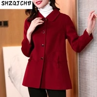 shzq double sided cashmere coat womens short dress chinese style 2021 autumn and winter new wool wool wool coat