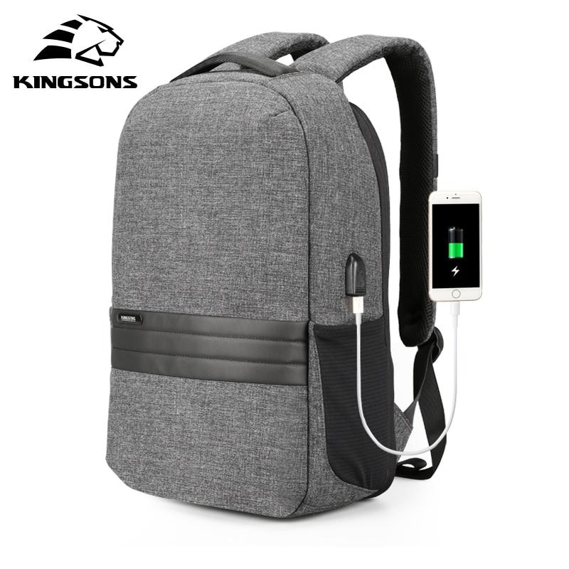 Kingsons 15 inch Laptop Backpacks USB Charging Anti Theft Backpack Men Travel Backpack Waterproof School Bag Male Mochila