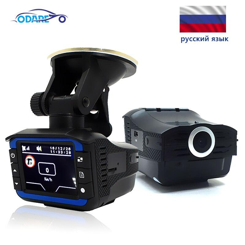 Coche DVR cámara de salpicadero Detector de Radar gps HD 720P ruso grabadora de vídeo/voz Ángulo de 140 grados de coche DVR Cámara 3 en 1