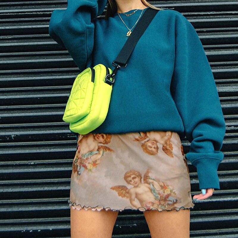 Sweetown Harajuku Angel Print Kawaii Summer falda malla Patchwork doble capa faldas lindas para mujer elástico falda lápiz de cintura alta