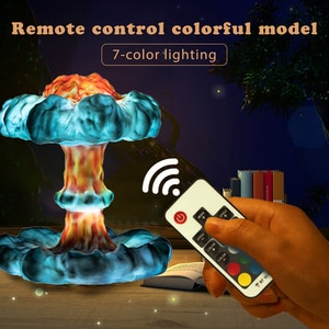 3D Nuclear Explosion Mushroom Cloud Night Light 3/7-color Lighting Dimmable Lamp Remote Control Eye Protection Night Light Decor