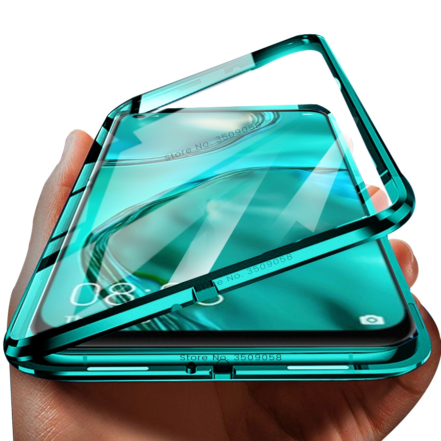 P40 lite huawie чехол адсорбционный металлический Магнитный Флип-кейс для huawei p 40 lite light pro 40 lite n 40 lait 40p двухстороннее стекло