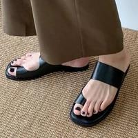 women slippers 2021 summer casual beach shoes vintage black clip toe sandals fashion square toe slippers women flip flops