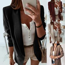 Casual  Women Basic Notched Collar Solid Pockets Chic Tops Office Ladies Retro Single Button Suit Ja