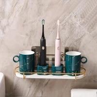 wall mounted cosmetic iron rack bathroom accessories storage box wall shelf hanger home storage decor