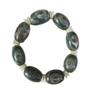 Collect Tibetan King Kong Eyes Floer Telescopic Amulet Dzi Beads Bracelet /2