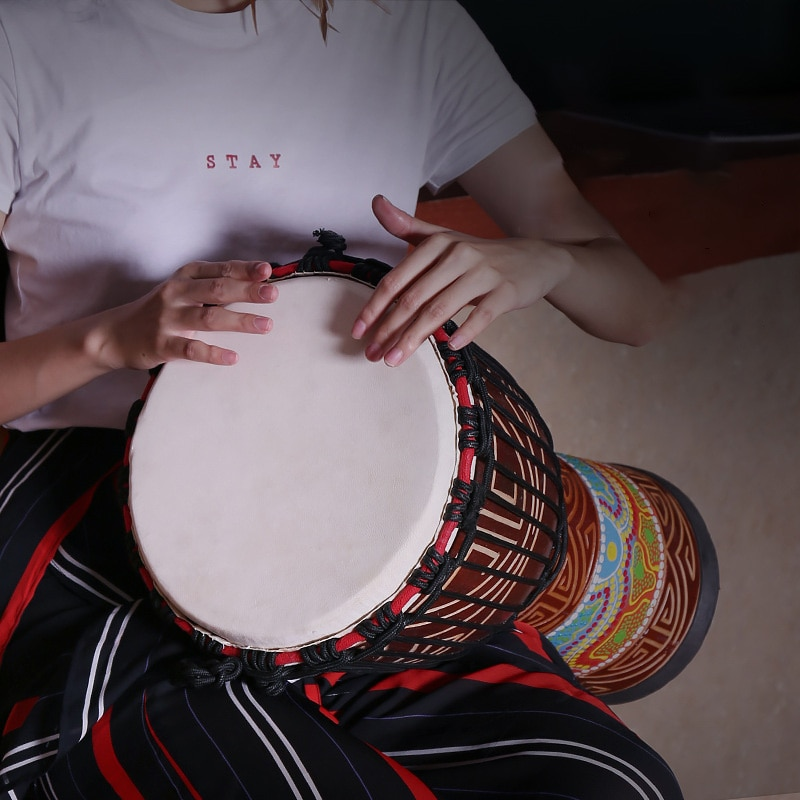 12 Inch Djembe Drum Professional African  Drum  Goat Skin Tambourine Indonesian Mahogany Djembe Percussion Musical Instrument enlarge