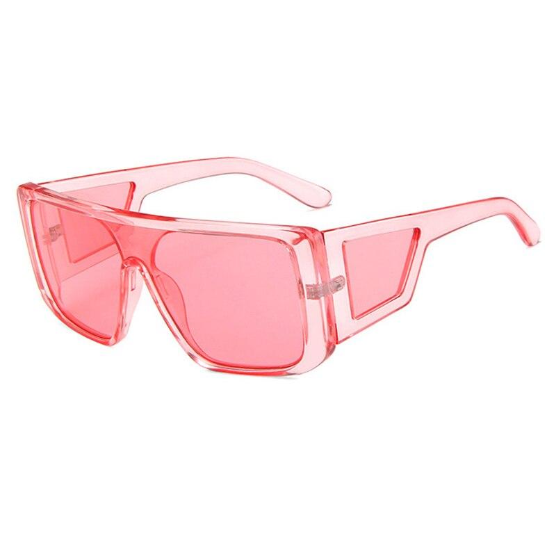Oversized One Piece Sunglasses Women Brand Designer Fashion Flat Top Steampunk Sunglasses Men Vintag