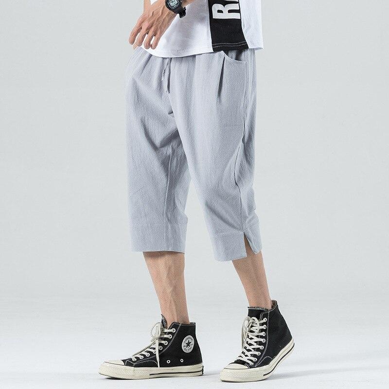 Летние хлопковые льняные капри брюки мужские тонкие свободные штаны с эластичной резинкой на талии, хлопковые шорты, мужские спортивные шт...