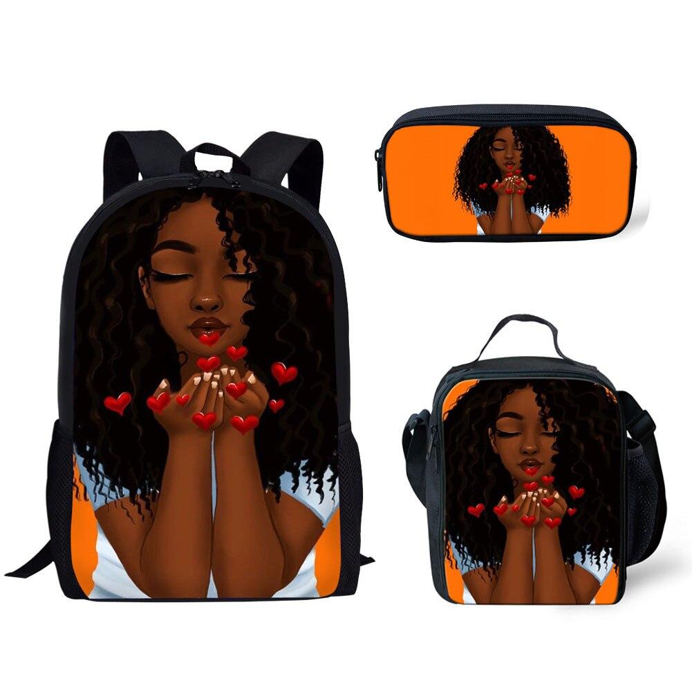 Kawaii African Black Girl Printed School Bag Set for Teenagers Girls Student Travel Book Bag Kids Mochila for Gifts