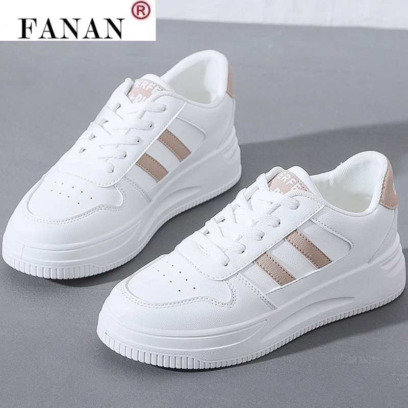 2021 Spring New PU Leather Walking Vulcanized Shoes Comfortable Lace-up Casual Woman Sneakers Fashion Platform
