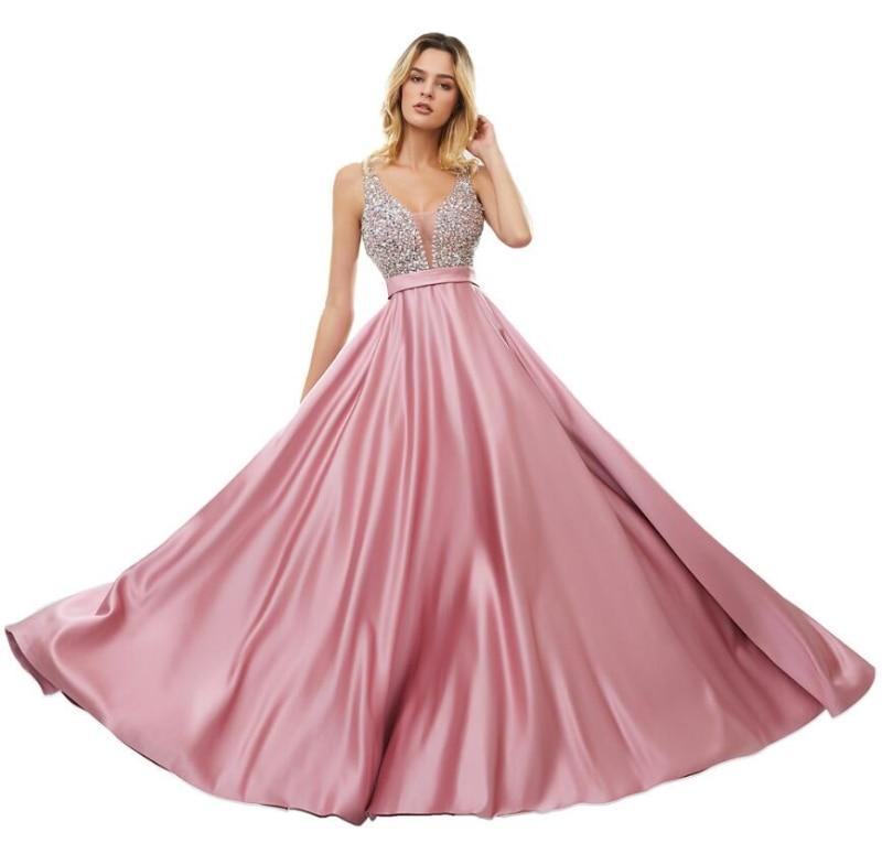 9642# Sleeveless V Neck Floor Length Beading Satin Backless Bridesmaid Dress Evening Dress for Ladies' Party Dress