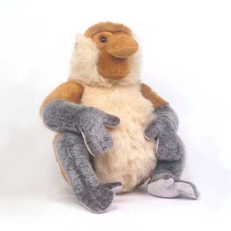23CM realista sentado mono probóscide Animal relleno juguetes de viaje de Malasia lindo perezoso mono de peluche de juguete muñeca