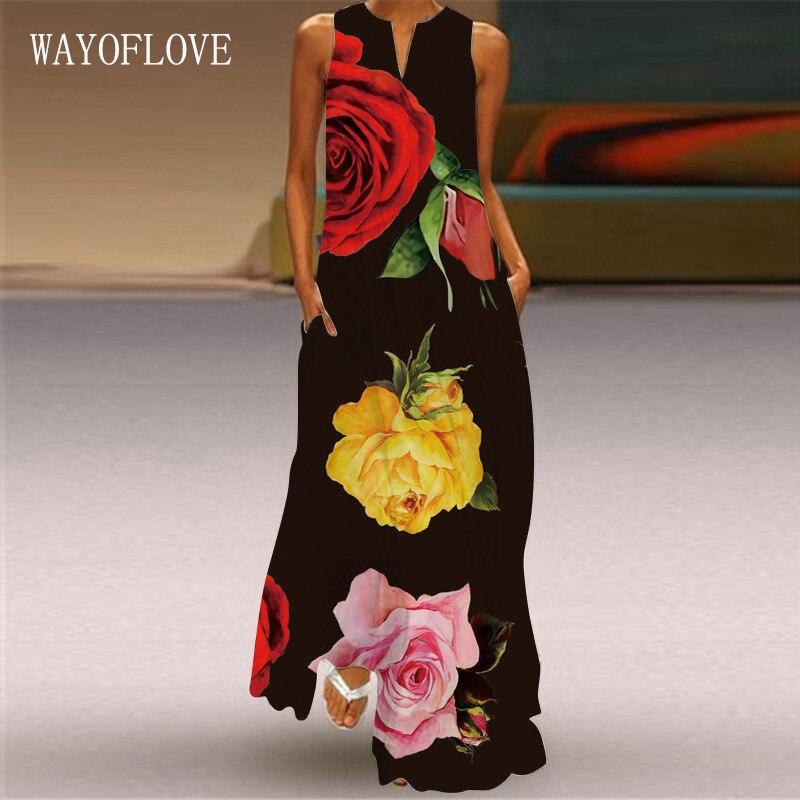WAYOFLOVE Black Dress 2021 Elegant Casual Plus Size Sleeveless Long Dresses Woman Summer Beach Rose Pprint Girl Maxi Dress Women