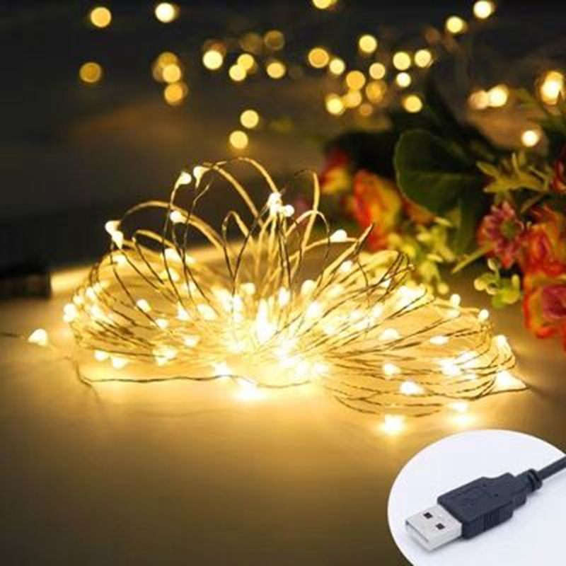 fairy lights usb 5m 10m silver led copper wire string light christmas holiday lights wedding patio decorations garden lighting Fairy Lights USB 5M 10M Silver Led Copper Wire String Light Christmas Holiday Lights Wedding Patio Decorations Garden Lighting