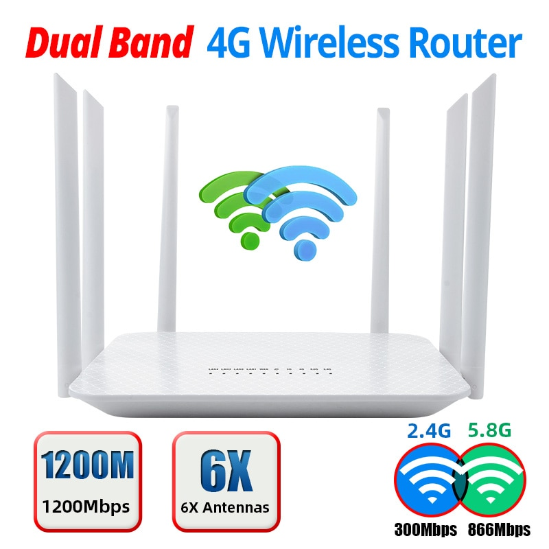 5Ghz Wireless WiFi Router 4G SIM Card 1200Mbps 2.4G 5.8GHz Dual Band Wireless Router 6 High Gain Antennas Wider With 1WAN 4LAN