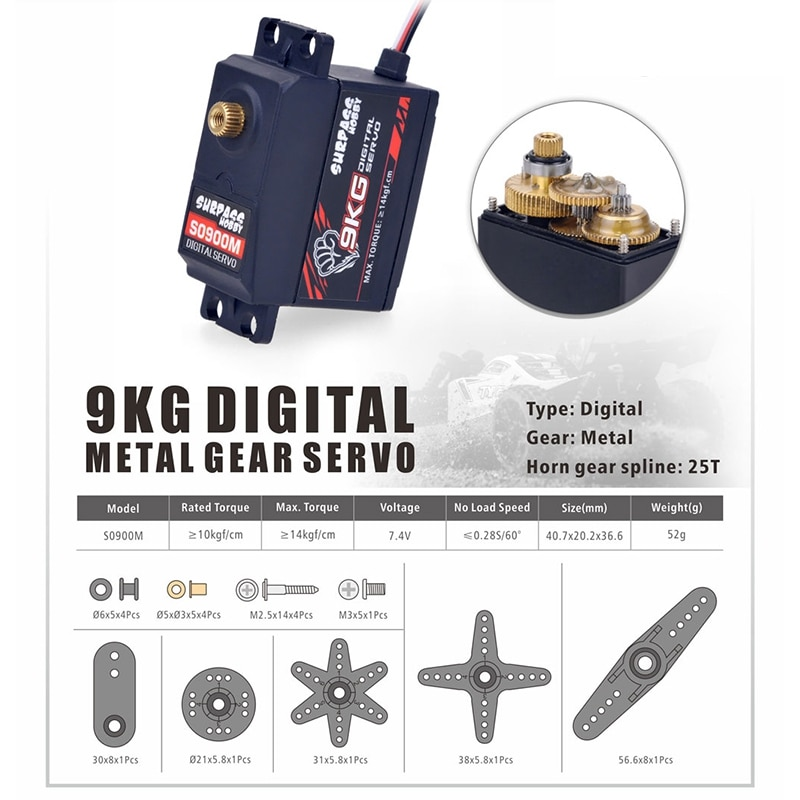 SURPASS HOBBY S0900M 9KG Metal Gear Servo for 1/10 1/8 High-Speed RC Car Aircraft RC Boat Smart Robot RC Drone enlarge