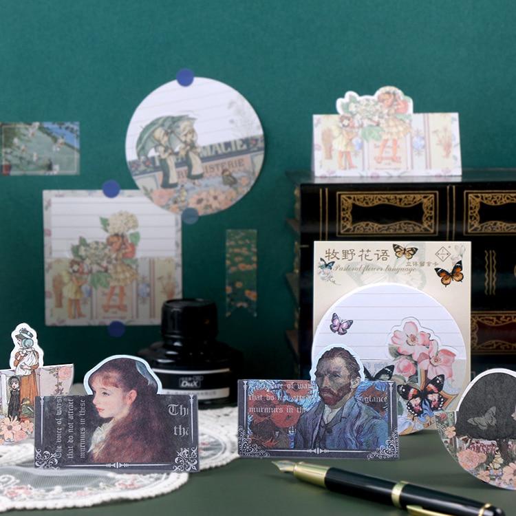 Juego de 20 Bloc de notas adhesivas Tonghua de Praga, álbum de recortes diario Retro de papel, pegatinas para diario, cuaderno escolar, libreta de escritorio