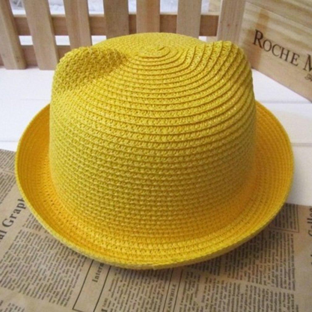Hip Hop Fishing Hat Cat Ear Kids Fisherman Hat Boys Girls Outdoor Bucket Hat Animal Shape Handmade Grass Braided Solid Sun hat