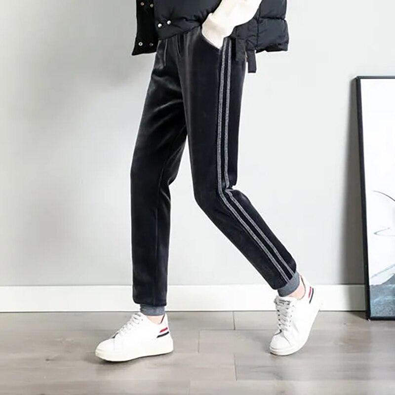 Новые женские осенне-зимние спортивные брюки, однотонные Бархатные эластичные теплые флисовые брюки, женские спортивные повседневные обле...